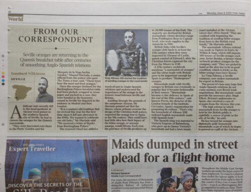 En The Times y Telegraph, sobre temas anglo-españoles